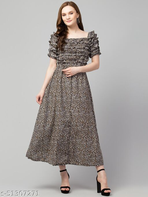 Women Western Long Animal Print Dress