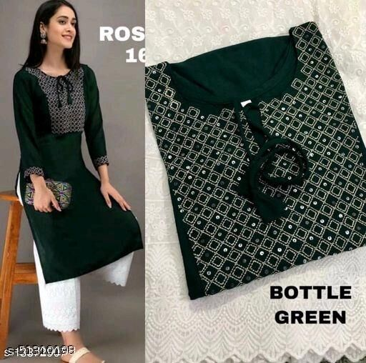 Women Rayon Straight Embroidered Sequinned Kurti