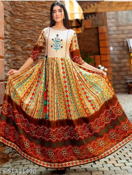 Exceptional Multi Colored Partywear Semi muslin Gown With embirodary butta