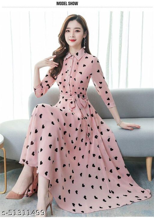 Exceptional pink Colored Partywear Semi muslin Gown