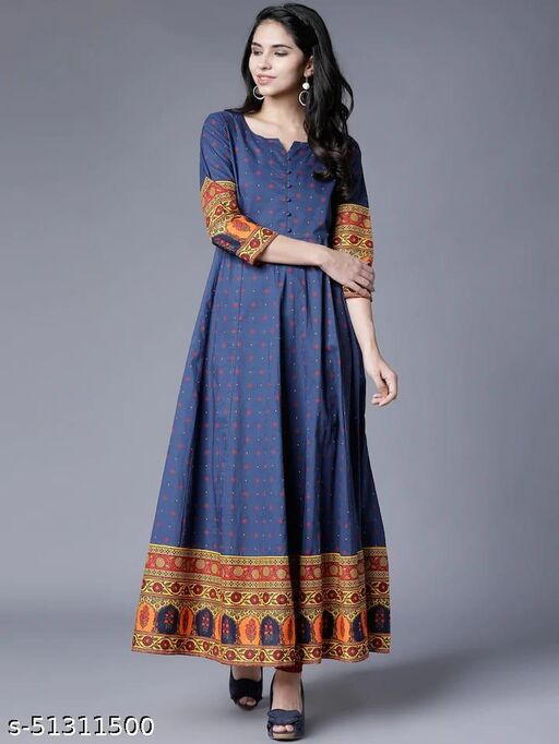 Exceptional Navy Blue Colored Partywear Semi muslin Gown