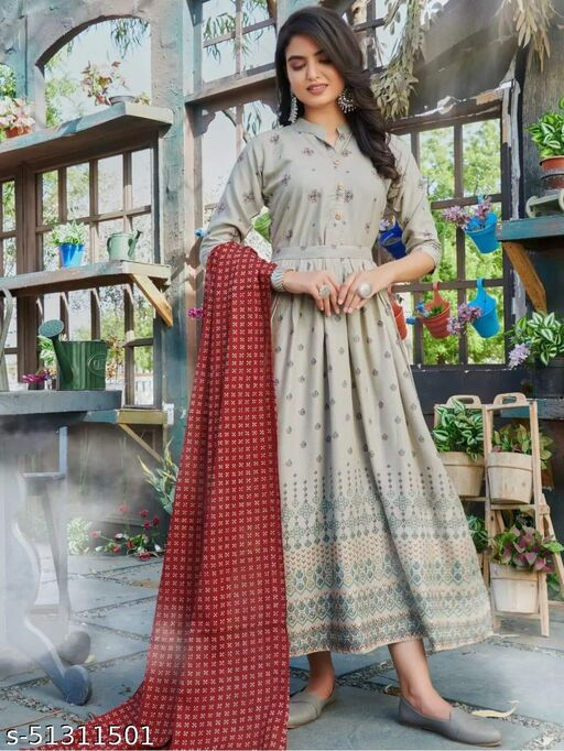 Exceptional Grey Colored Partywear Semi muslin Gown With dupatta