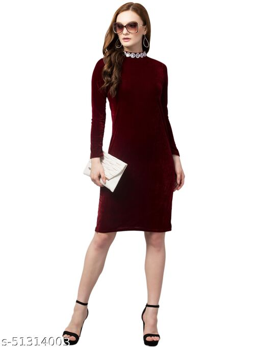CLM-102 BEADED COLLAR BODY CON DRESS WITH FULL SLEEVE