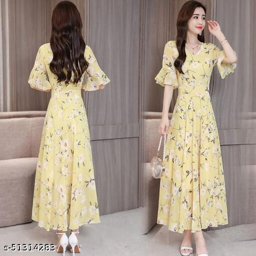 Light Yellow flower Print Long Dress 11062