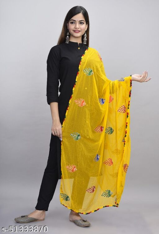 Latest Designer Phulkari Embroidered Ethnic Dupatta For Girls