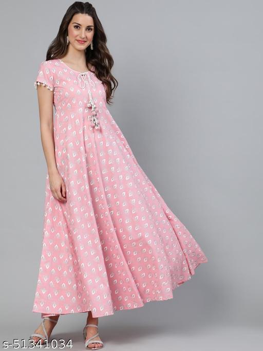 Pink & White Khari Printed Flared Maxi