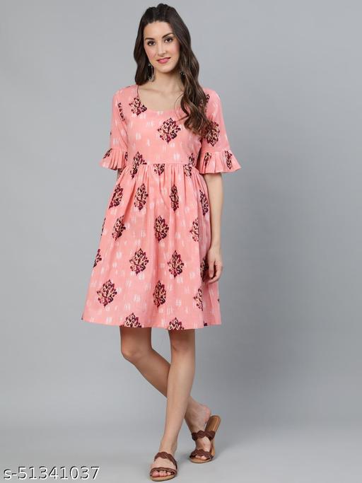 Peach Floral Printed Gathered Dress