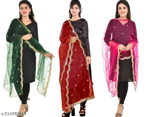 Sekmany Fancy Dupatta in Net Fabric with Mirror work and Cut Work and Lace Border (Green-Red-Pink) Combo
