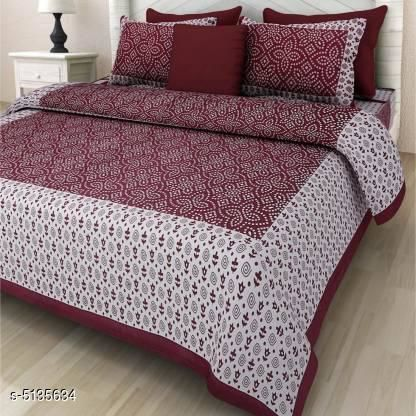 Bedsheets   Sanganeri Print Cotton100x90 Double Bedsheet  Fabric: Cotton No. Of Pillow Covers: 2 Thread Count: 160 Multipack: Pack Of 1 Sizes:  Queen (Length Size: 100 in, Width Size: 90 in, Pillow Length Size: 27 in, Pillow Width Size: 17 in) Sizes Available: Queen   Catalog Rating: ★3.6 (50)  Catalog Name: Graceful Stylish Cotton100x90 Double Bedsheet  CatalogID_758116 C53-SC1101 Code: 093-5135634-