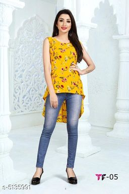 Women's Printed Yellow Poly Crepe Top