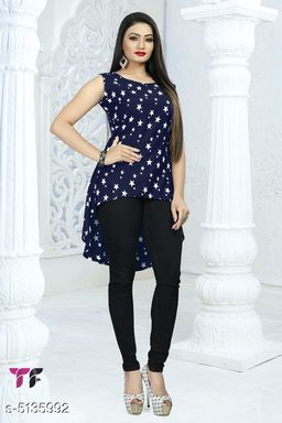 Women's Printed Navy Blue Poly Crepe Top