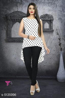 Women's Printed White Poly Crepe Top