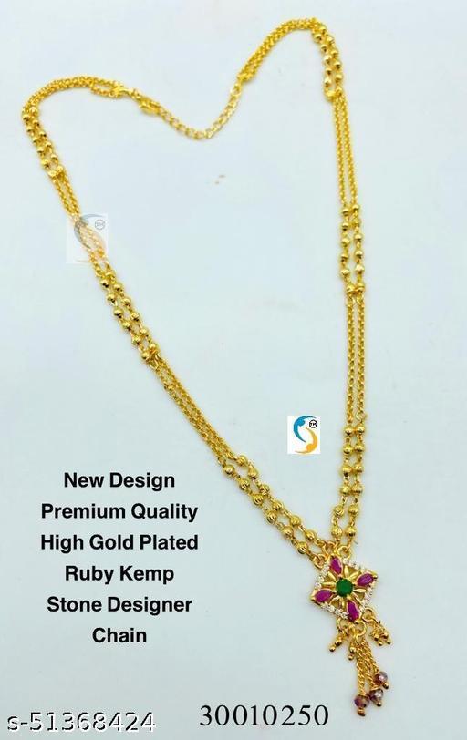 New design premium quality high gold plated designer ad ruby kemp stone designer chain.