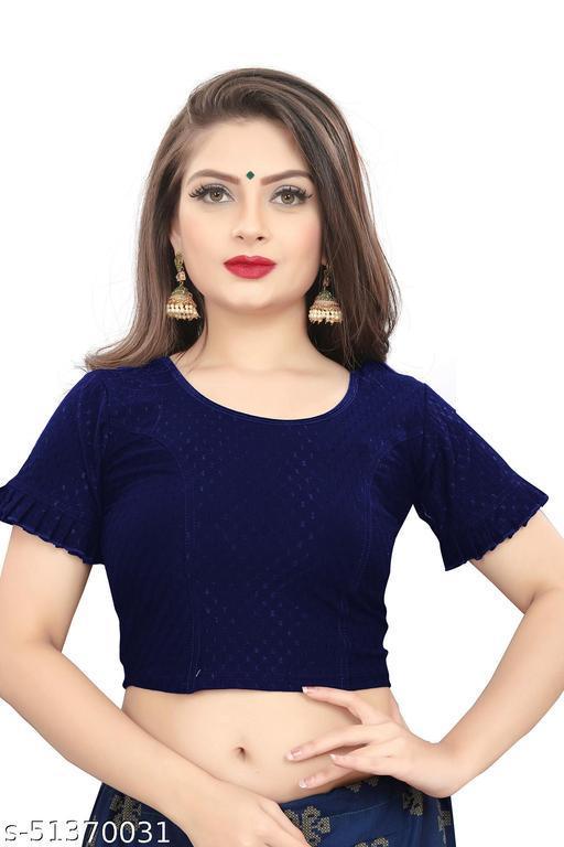 BRIVA Girl's & Women's Cotton Lycra Blend Readymade Round Neck Short Sleeve Blouse
