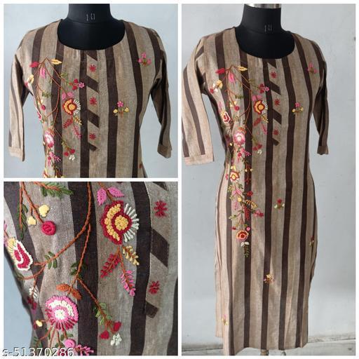 Brown multi color stripes cotton straight kurta with heavy handwork