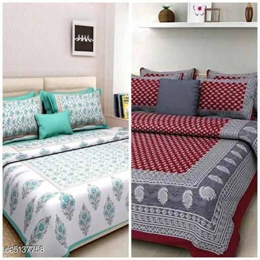 Stylish Cotton 100 x 90 Double Bedsheets Combo (Pack Of 2)