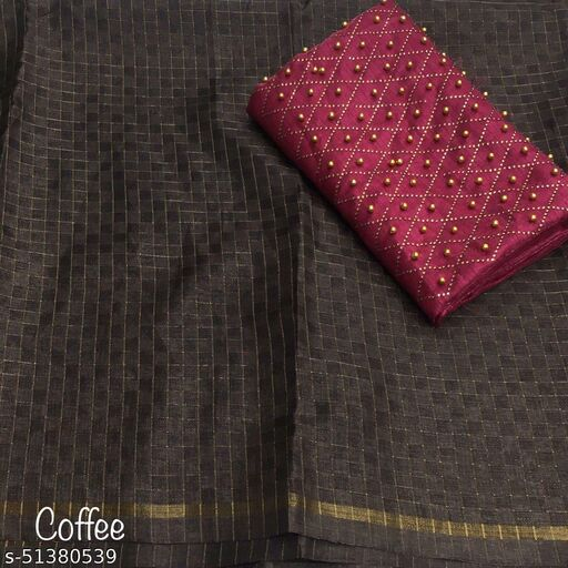 ROSE CLOUD Manipuri Chex cotton fabric Saree with hevay hotfix stone Work Blouse