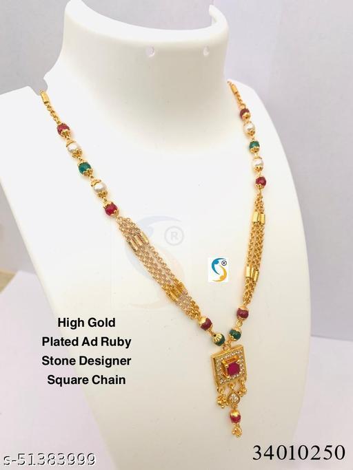 New design premium quality high gold micro plated ad diamond ruby stone designer square chain.