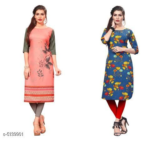 Kurtis & Kurtas Sana Designer Women's Kurtis Combo  *Fabric* Crepe  *Sleeve Length* Three-Quarter Sleeves  *Pattern* Printed  *Combo of* Combo of 2  *Sizes*   *S (Bust Size* 36 in, Size Length  *XL (Bust Size* 42 in, Size Length  *L (Bust Size* 40 in, Size Length  *M (Bust Size* 38 in, Size Length  *XXL (Bust Size* 44 in, Size Length  *Sizes Available* S, M, L, XL, XXL   Supplier Rating: ★3.9 (13881) SKU: Combo405 Shipping charges: Rs1 (Non-refundable) Pkt. Weight Range: 500  Catalog Name: Sana Designer Women's Kurtis Combo - Crepe wali Kurtis Code: 915-5139901--317