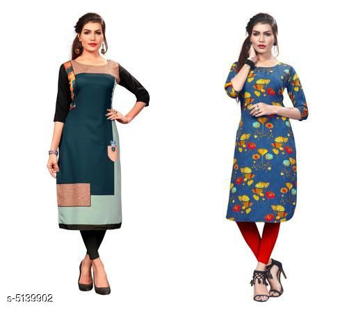Kurtis & Kurtas Sana Designer Women's Kurtis Combo  *Fabric* Crepe  *Sleeve Length* Three-Quarter Sleeves  *Pattern* Printed  *Combo of* Combo of 2  *Sizes*   *S (Bust Size* 36 in, Size Length  *XL (Bust Size* 42 in, Size Length  *L (Bust Size* 40 in, Size Length  *M (Bust Size* 38 in, Size Length  *XXL (Bust Size* 44 in, Size Length  *Sizes Available* S, M, L, XL, XXL   Supplier Rating: ★3.9 (13881) SKU: Combo406 Shipping charges: Rs1 (Non-refundable) Pkt. Weight Range: 500  Catalog Name: Sana Designer Women's Kurtis Combo - Crepe wali Kurtis Code: 915-5139902--317