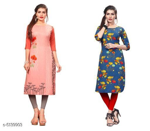 Kurtis & Kurtas Sana Designer Women's Kurtis Combo  *Fabric* Crepe  *Sleeve Length* Three-Quarter Sleeves  *Pattern* Printed  *Combo of* Combo of 2  *Sizes*   *S (Bust Size* 36 in, Size Length  *XL (Bust Size* 42 in, Size Length  *L (Bust Size* 40 in, Size Length  *M (Bust Size* 38 in, Size Length  *XXL (Bust Size* 44 in, Size Length  *Sizes Available* S, M, L, XL, XXL   Supplier Rating: ★3.9 (13881) SKU: Combo408 Shipping charges: Rs1 (Non-refundable) Pkt. Weight Range: 500  Catalog Name: Sana Designer Women's Kurtis Combo - Crepe wali Kurtis Code: 915-5139903--317