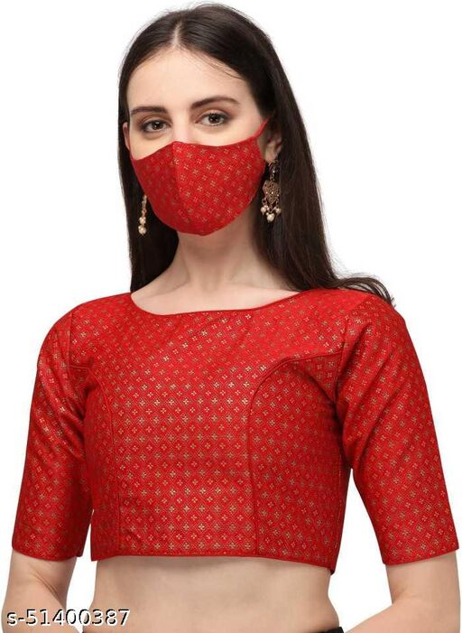jequard red blouse0012