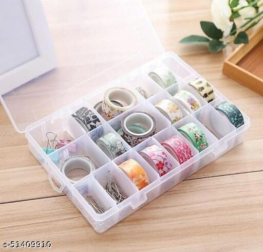 ADJO ENTEPRISES 36 Grid Cells Plastic Multipurpose Jewelry Organizer Storage Box - Transparent Jewellery Vanity Box  (Clear)