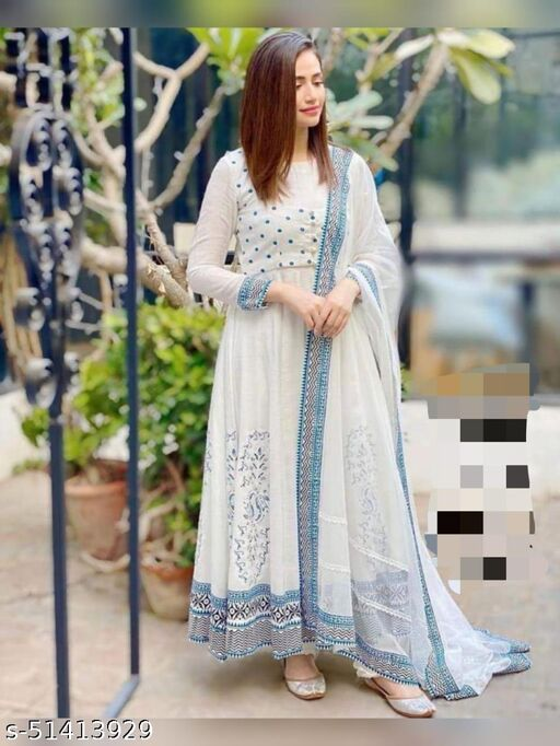 EGF BRAND RAYON LONG GOWN WITH DUPATTA
