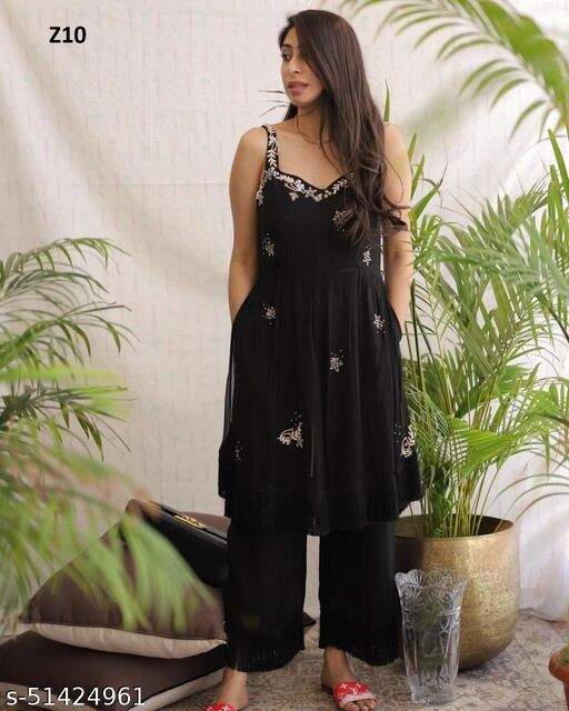 Hot Demanding Black colored Embrodeiry to and bottom set