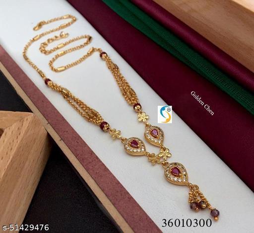 New design premium quality high gold plated ad diamond ruby stone designer leaf shape chain.