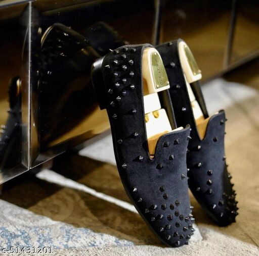 Black Studded Casual Loafer Men Shoes