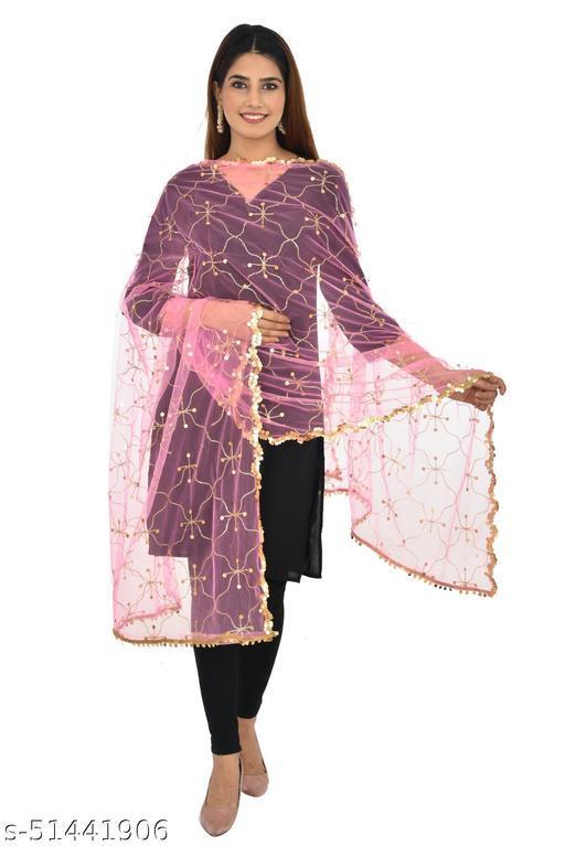 Unique Designer Squance Work Net Dupatta with Finest Squance Border ( Baby Pink )