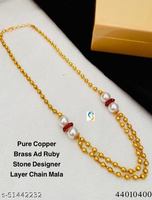 New design premium quality pure copper brass ruby pearl designer ball layer chain.