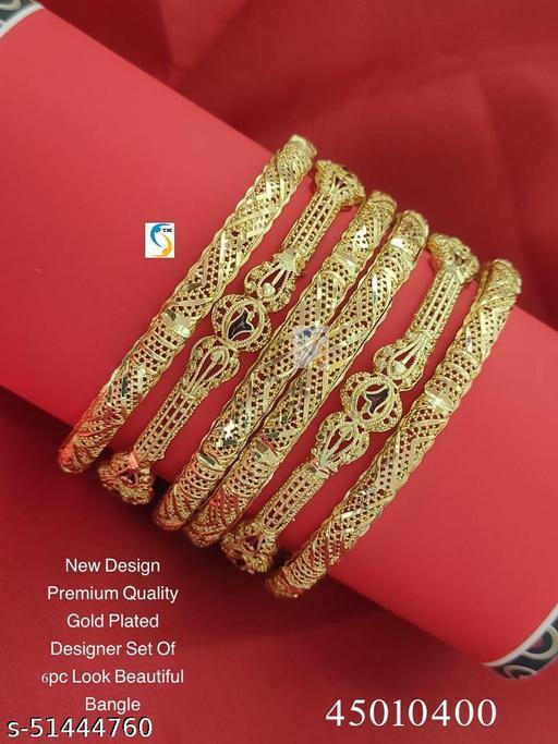 New design premium quality high gold plated set of 6pc look beautiful designer bangle.