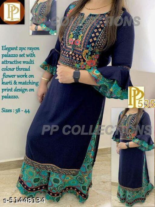 EGF brand Rayon Embroidery kurti with palazzo