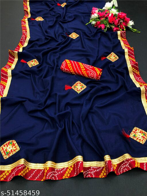 PD Fashion Navy Colour Vichitra Silk Saree with Patch Work and Jacquard Blouse