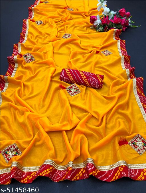 PD Fashion Yellow Colour Vichitra Silk Saree with Patch Work and Jacquard Blouse
