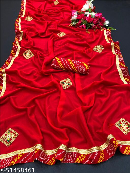 PD Fashion Red Colour Vichitra Silk Saree with Patch Work and Jacquard Blouse