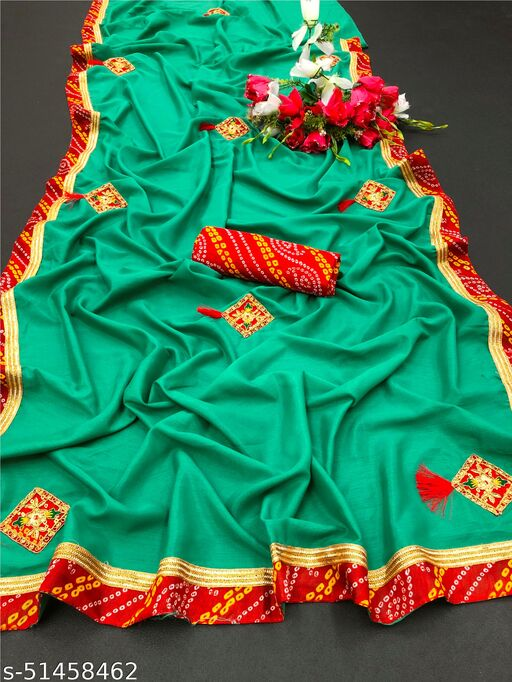 PD Fashion Green Colour Vichitra Silk Saree with Patch Work and Jacquard Blouse