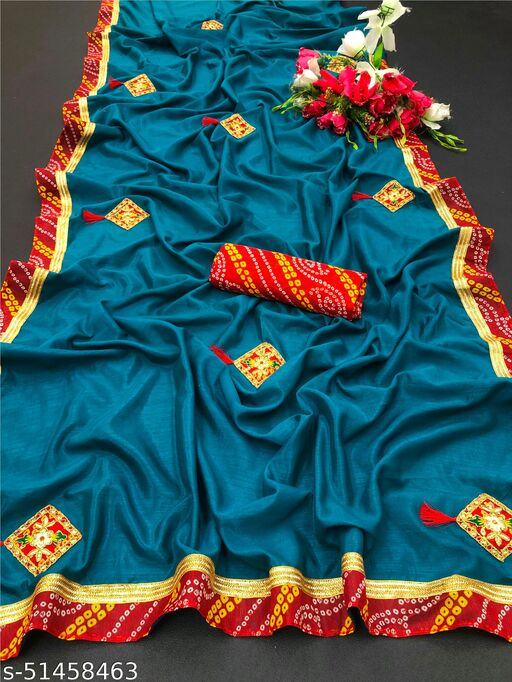 PD Fashion Firozi Colour Vichitra Silk Saree with Patch Work and Jacquard Blouse