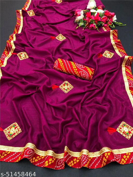 PD Fashion Wine Colour Vichitra Silk Saree with Patch Work and Jacquard Blouse