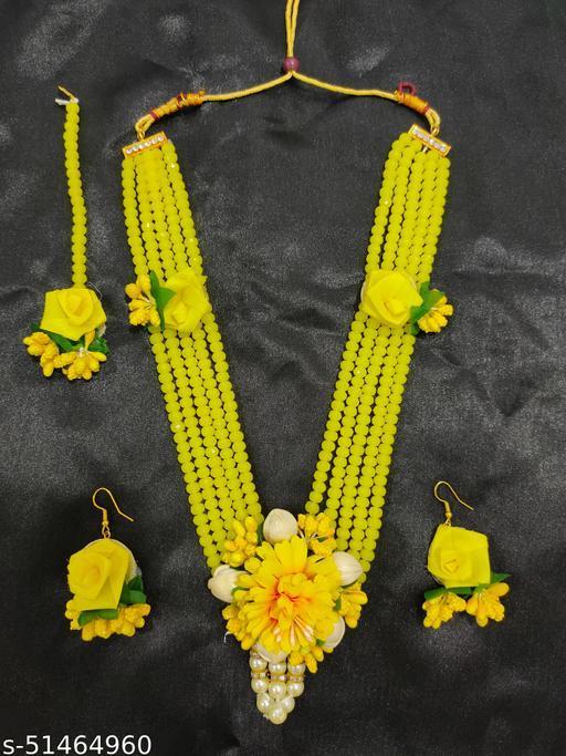 Asmitta Gota Patti Necklace, Earrings & Maang Tika Fabric Jewelry Set, Yellow Flower Mehendi Haldi Jewellery set for Women