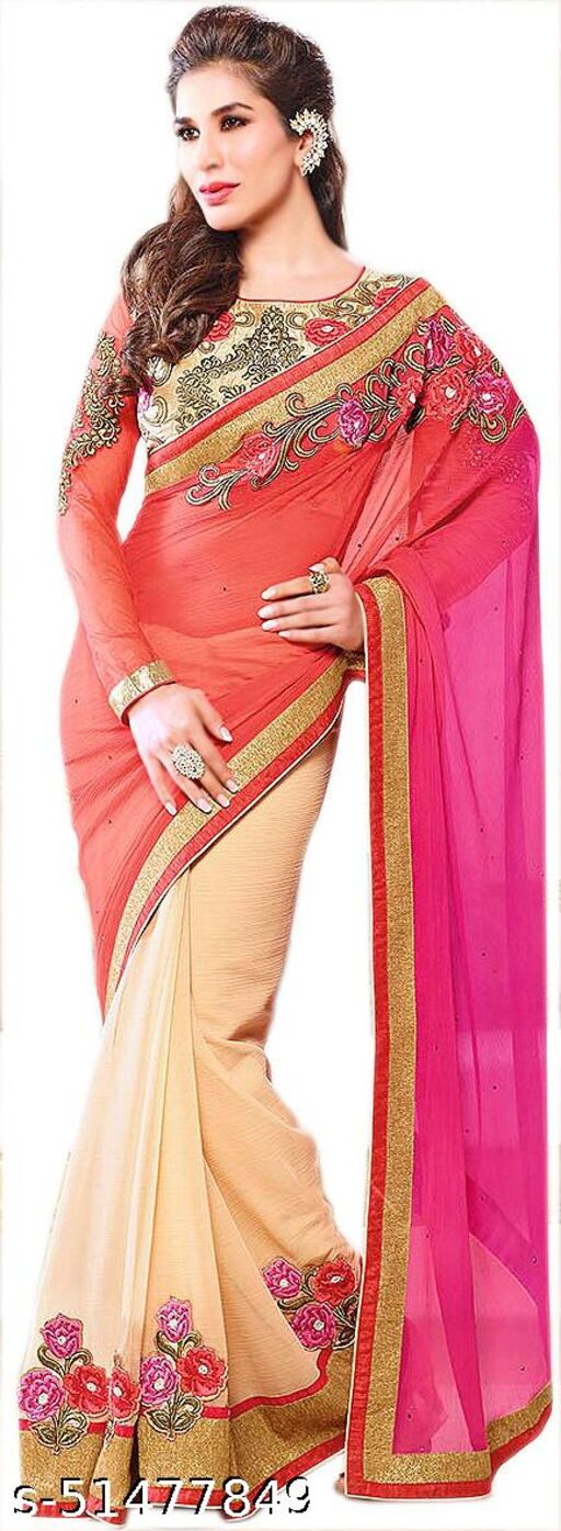 Exotic India Hot-Coral and Cream Wedding Sari with Floral Patches and Embroidered Blouse