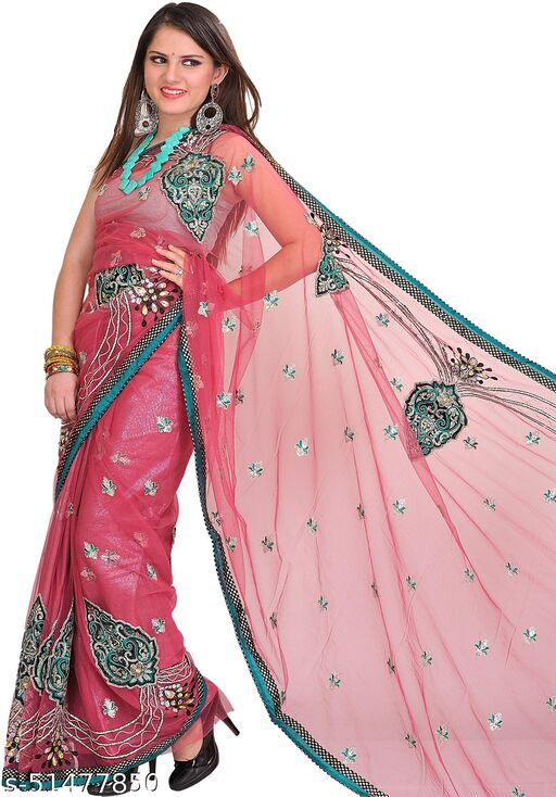 Exotic India Rose-Wine Wedding Shimmer Sari with Embroidered Patches and Sequins