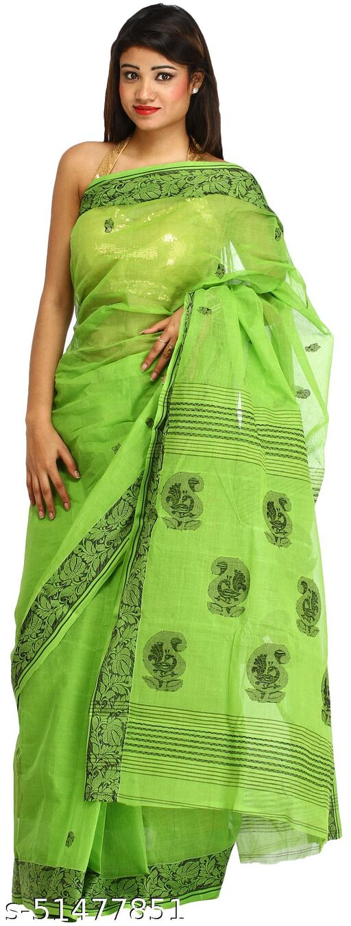 Exotic India Kiwi-Green Sari from Bengal with Floral Border and Paisleys on Aanchal