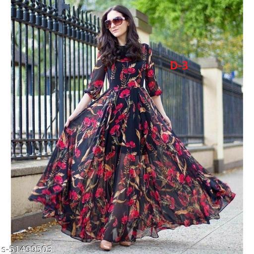 Designer Wear Cold Shoulder Long Faux Georgette Digital Printed Gown