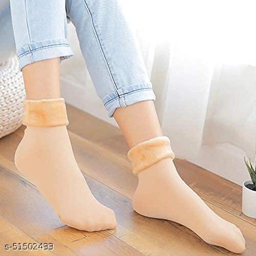 BRIKSHI Unisex Winter Warm Velvet Socks, 100% Warm Super Hot For Men & Women pack of 2 Beige