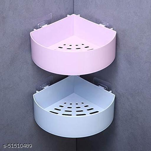 Bathroom Shelves Corner Storage Wall Mount Shelf with Adhesive Sticker Pack of 2