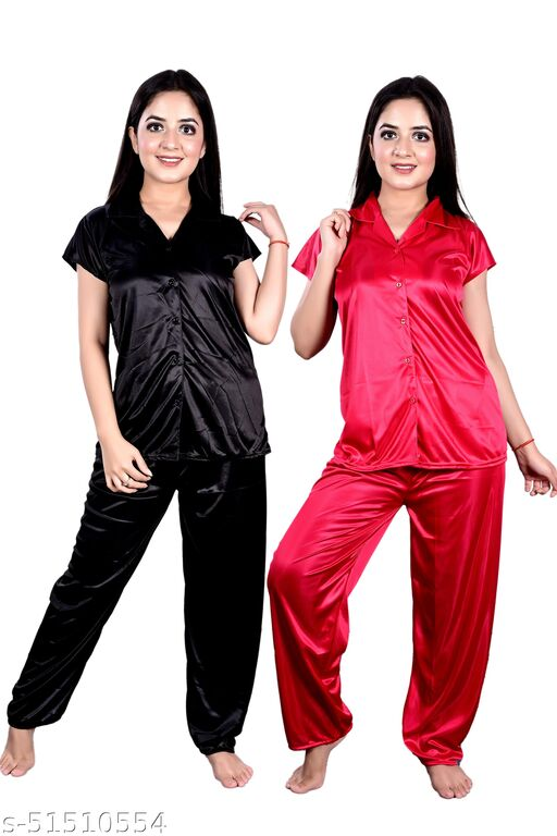 Blue Sea Nightsuit Night Dress for Girls & Women in Black & Red Color Set of 2