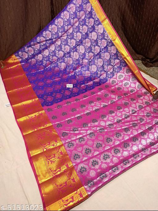 Spewim Women TanaSilk Silver Zari Full Brocket Work 6 Yards Saree With Blouse Piece(Vs Silver Zari Full Brocket (5) Blue+Pink)